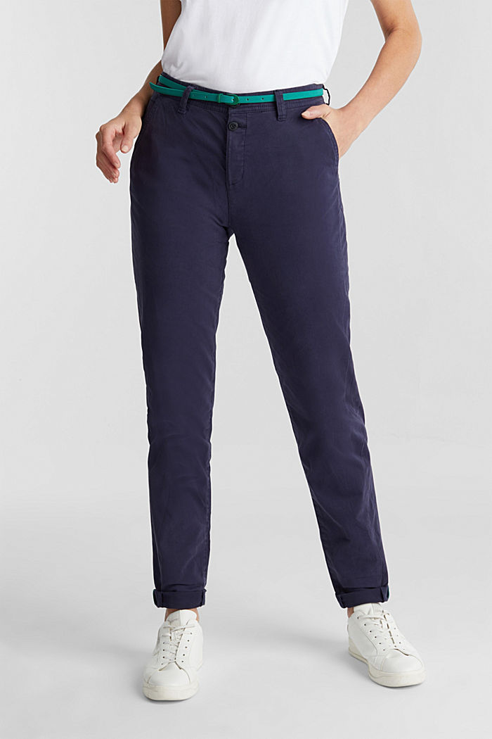 Stretch chinos with a belt and button fly, NAVY, detail image number 0