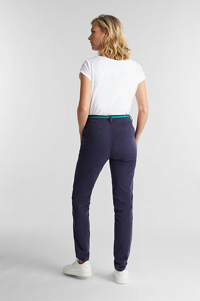 Stretch chinos with a belt and button fly, NAVY, detail image number 3