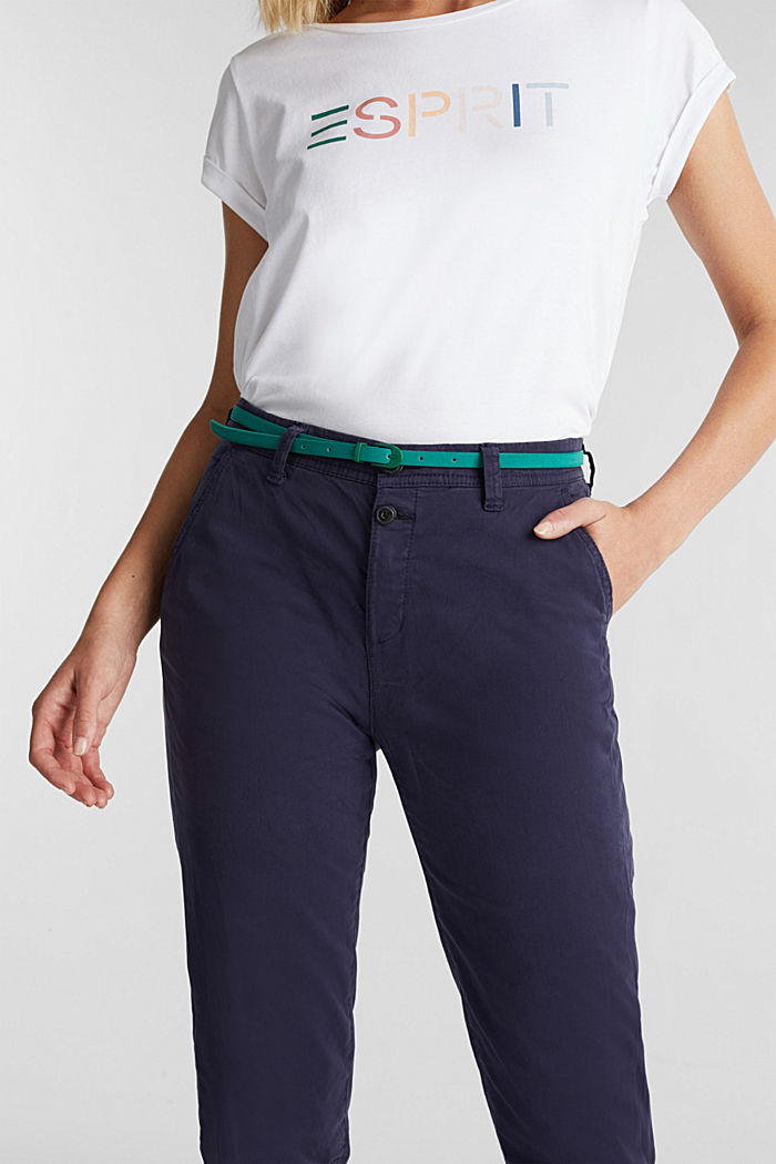 Stretch chinos with a belt and button fly, NAVY, detail image number 2
