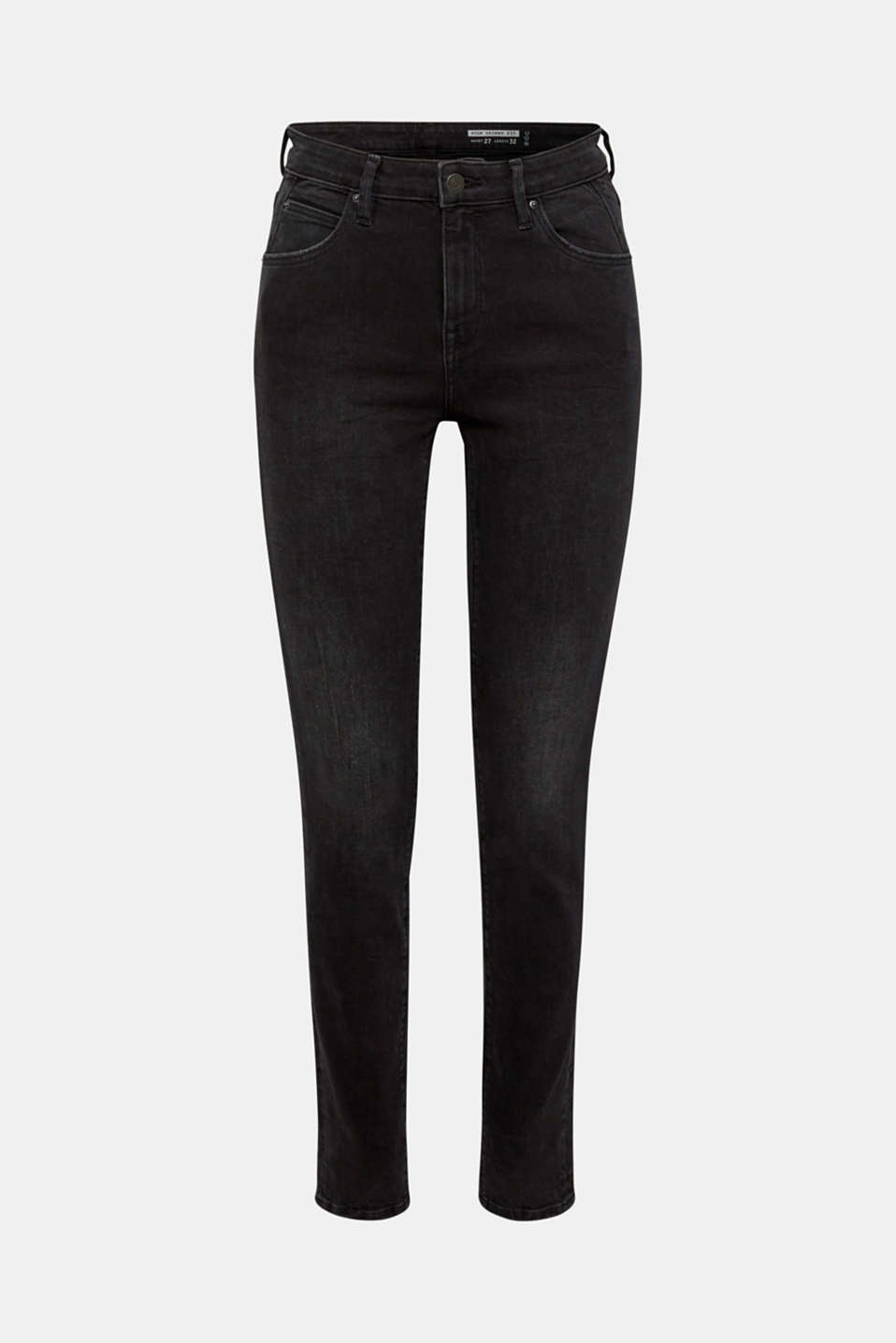 Stretch jeans with a high waistband and organic cotton, BLACK DARK WASH, detail image number 7