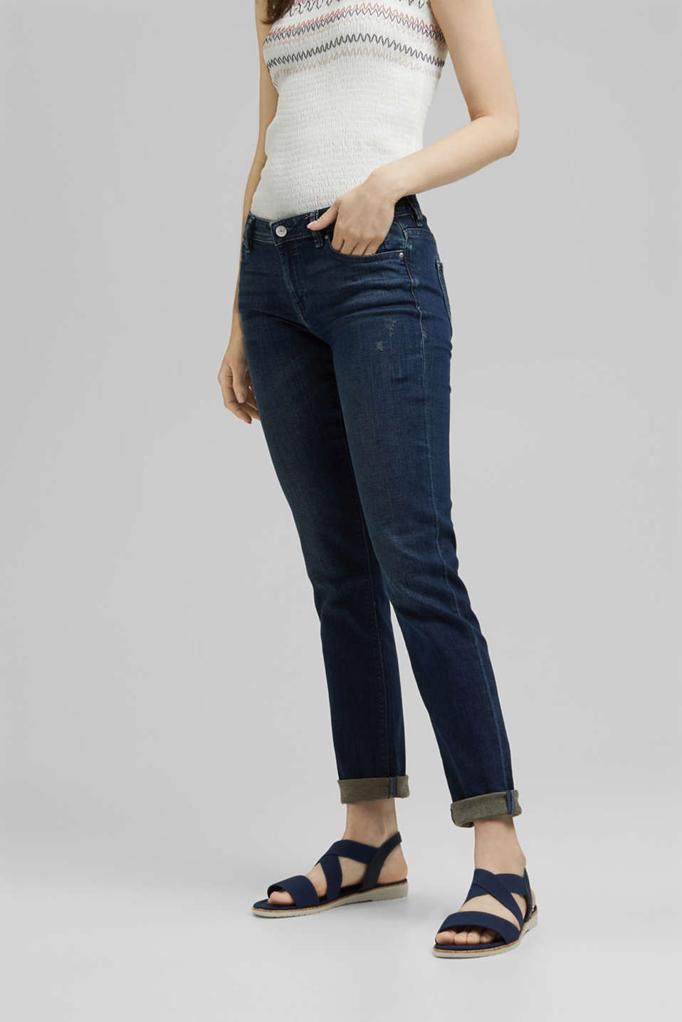 Stretch jeans with vintage effects, BLUE DARK WASH, detail image number 0