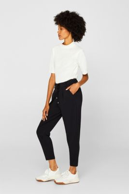 Stretch trousers in a tracksuit bottoms style, BLACK, detail