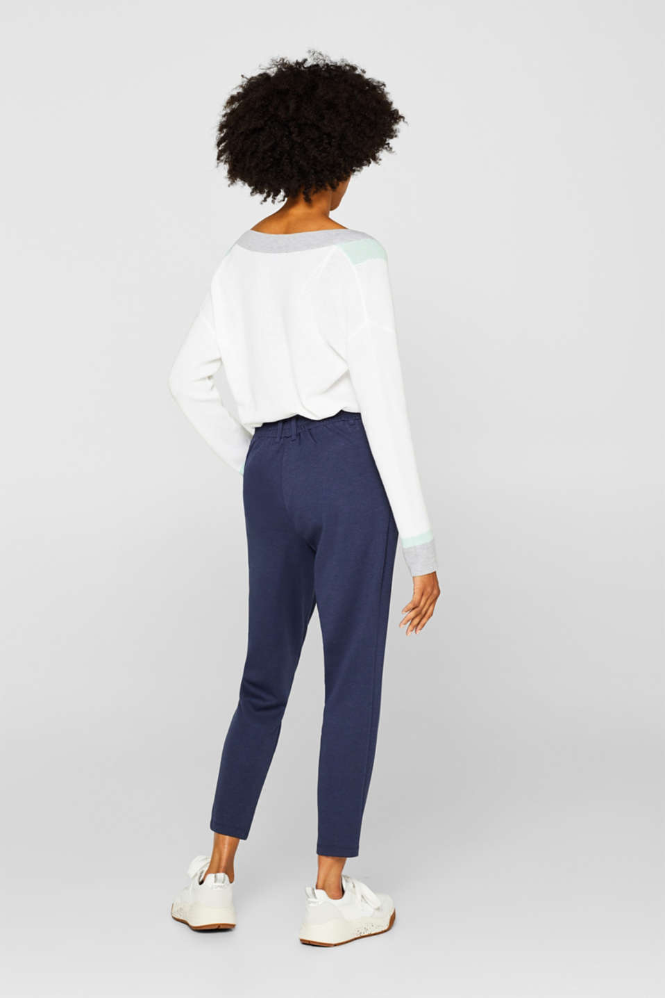 Stretch trousers in a tracksuit bottoms style, NAVY, detail image number 3