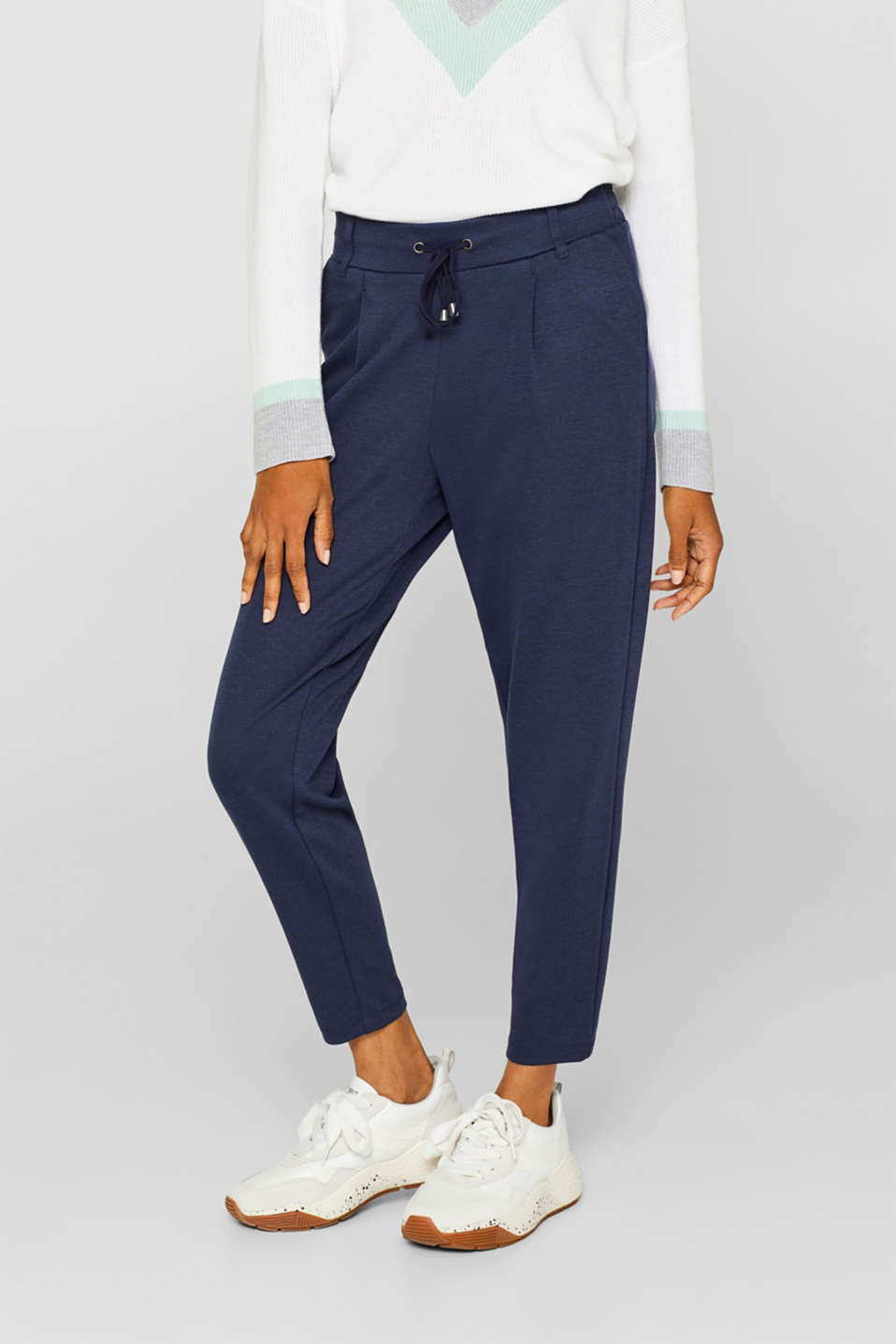 Stretch trousers in a tracksuit bottoms style, NAVY, detail image number 5