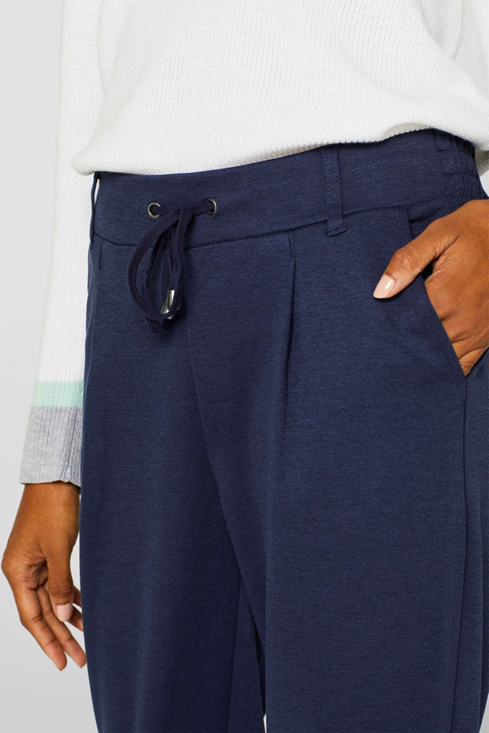 Stretch trousers in a tracksuit bottoms style, NAVY, detail image number 2