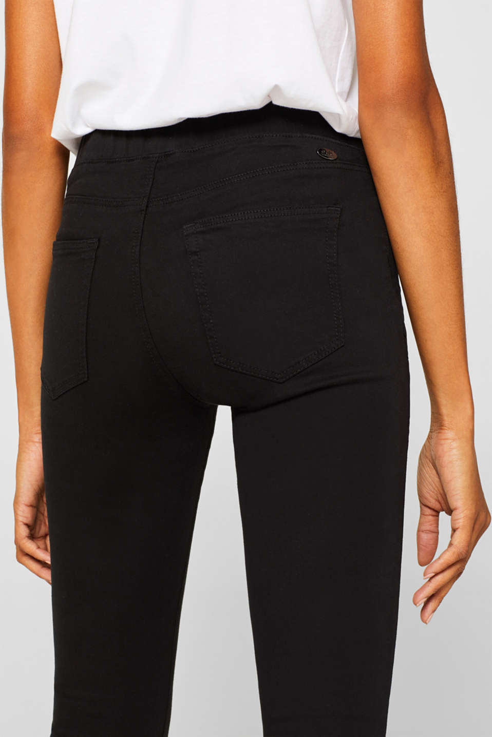 Treggings with an elasticated waistband, BLACK, detail image number 2