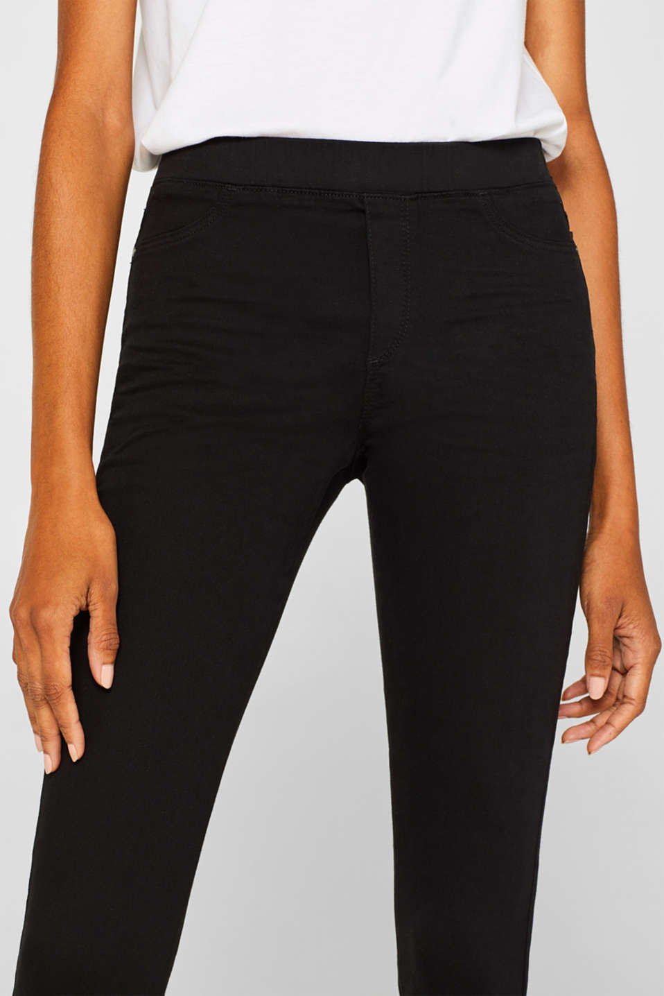 Treggings with an elasticated waistband, BLACK, detail image number 6