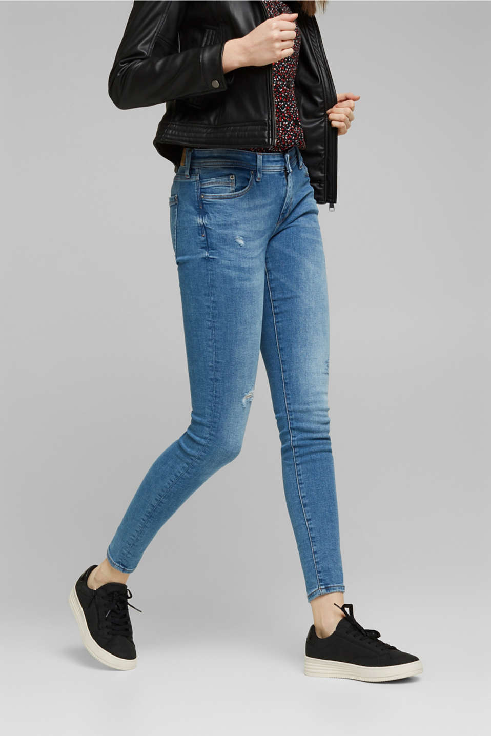 edc - Stretch-Jeans mit Used-Effekten