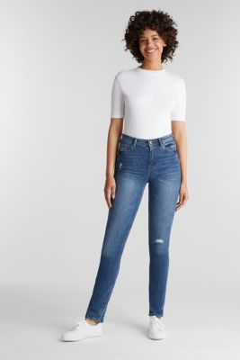 Stretch jeans with vintage effects, BLUE MEDIUM WASH, detail