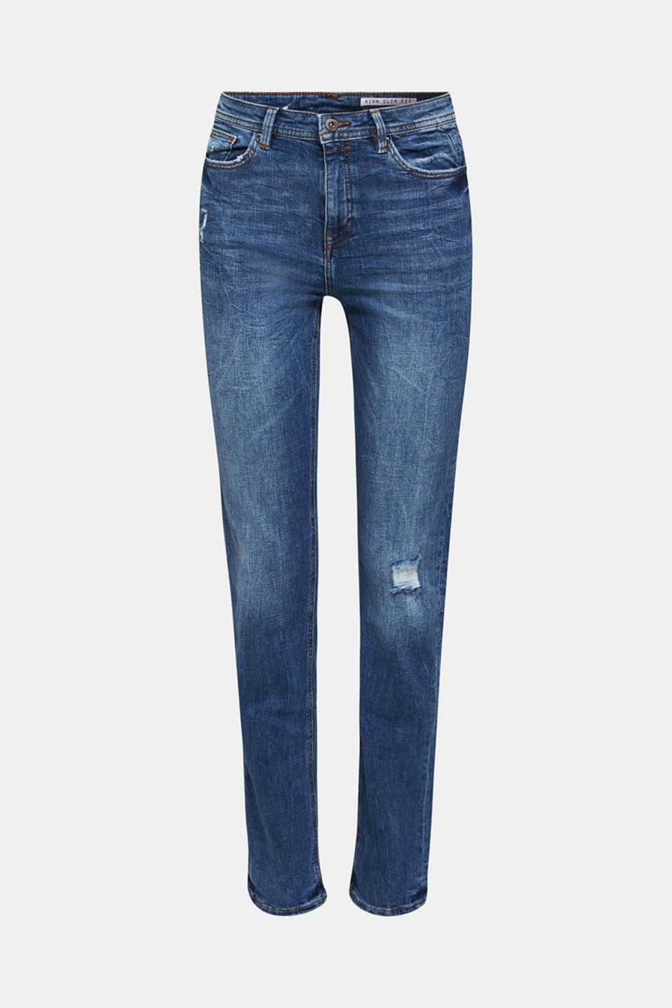 Stretch jeans with vintage effects, BLUE MEDIUM WASH, detail image number 6