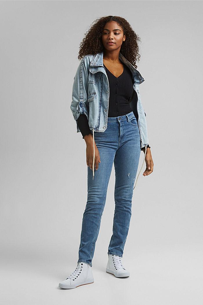 Stretch-Jeans mit Used-Effekten, BLUE LIGHT WASHED, detail image number 1