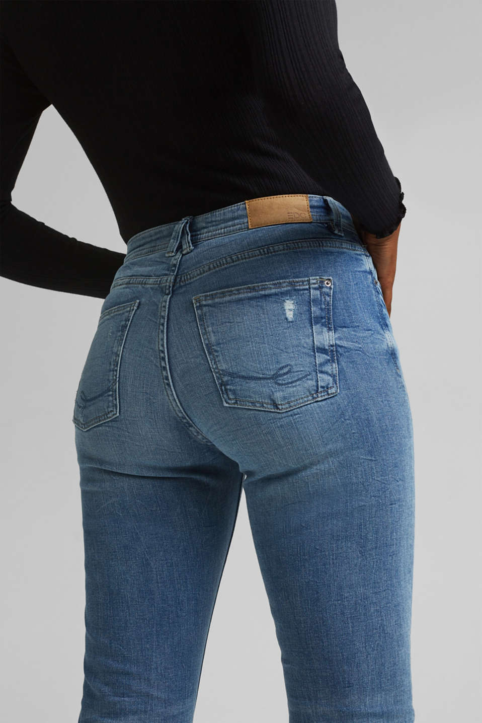 Stretch jeans with vintage effects, BLUE LIGHT WASH, detail image number 5