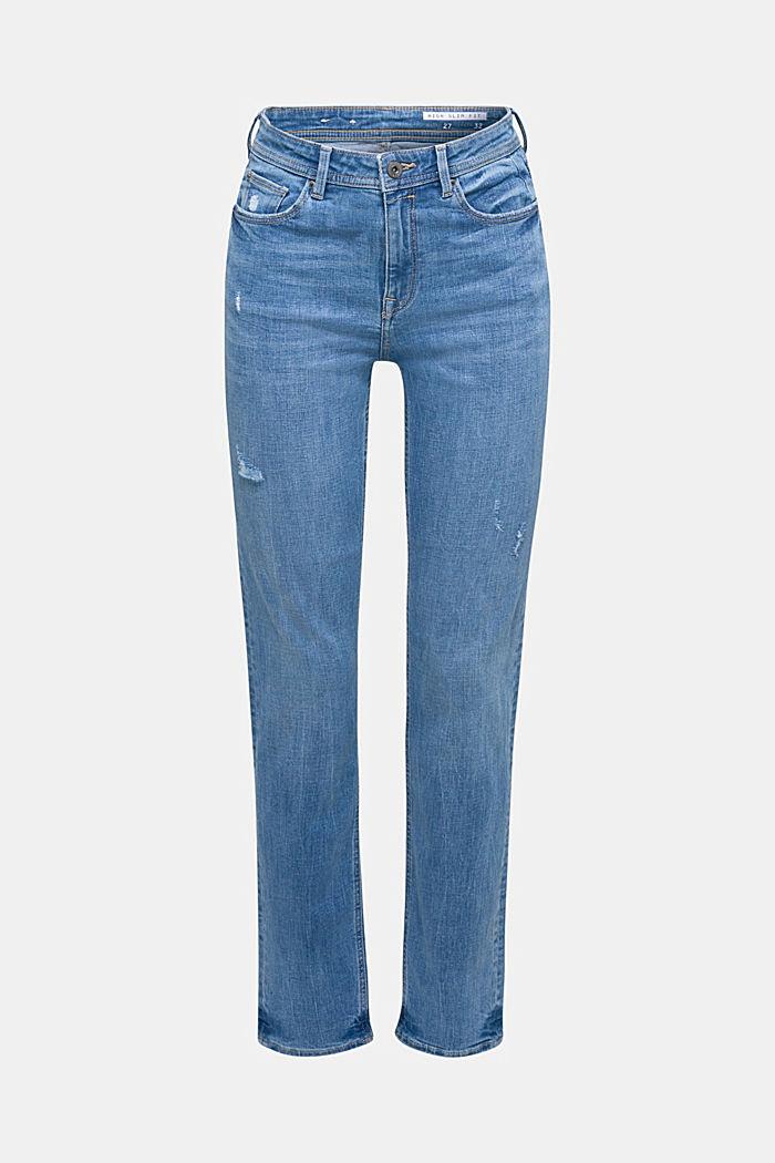 Stretch-Jeans mit Used-Effekten, BLUE LIGHT WASHED, detail image number 7