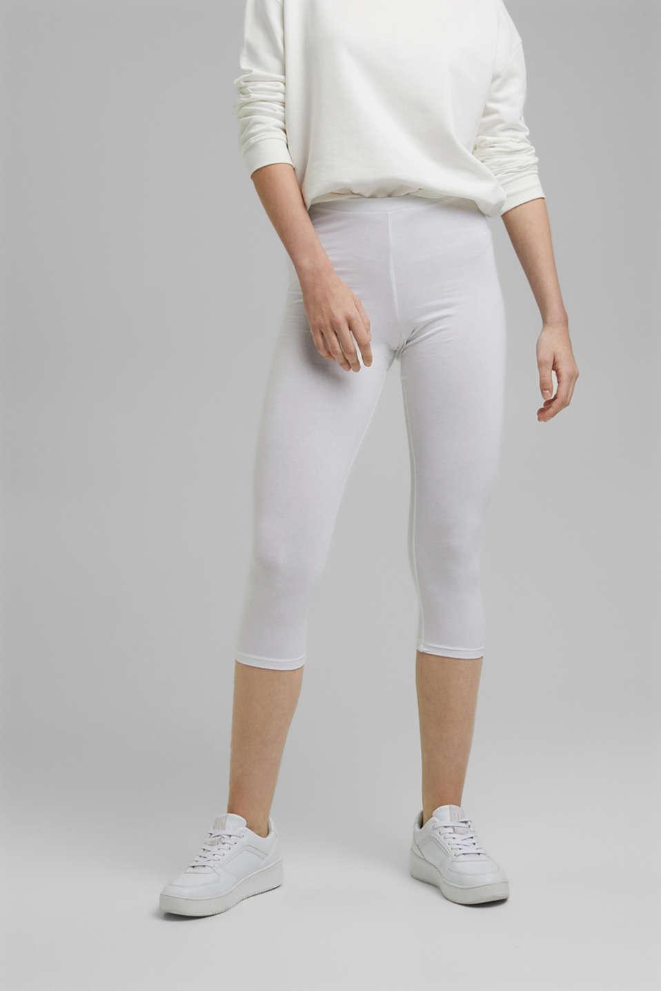 Stretch cotton Capri leggings, WHITE, detail image number 0