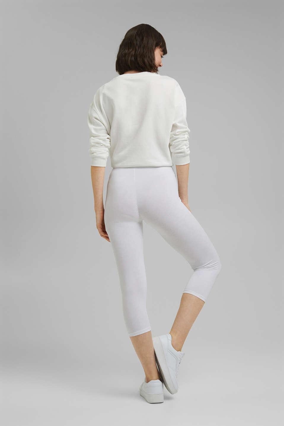 Stretch cotton Capri leggings, WHITE, detail image number 3