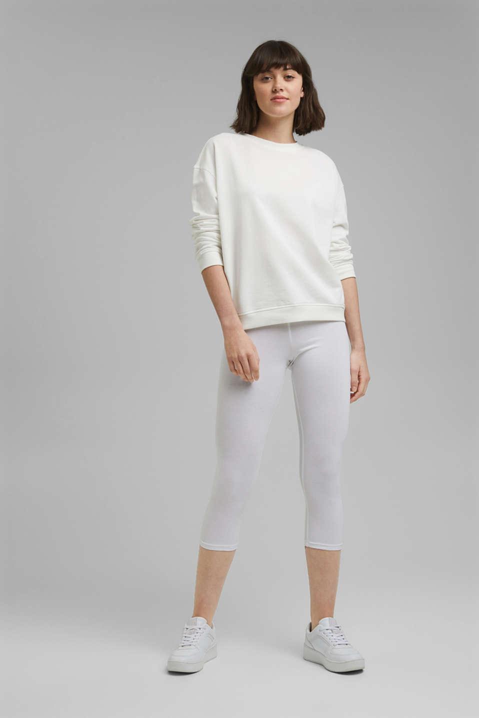 Stretch cotton Capri leggings, WHITE, detail image number 1