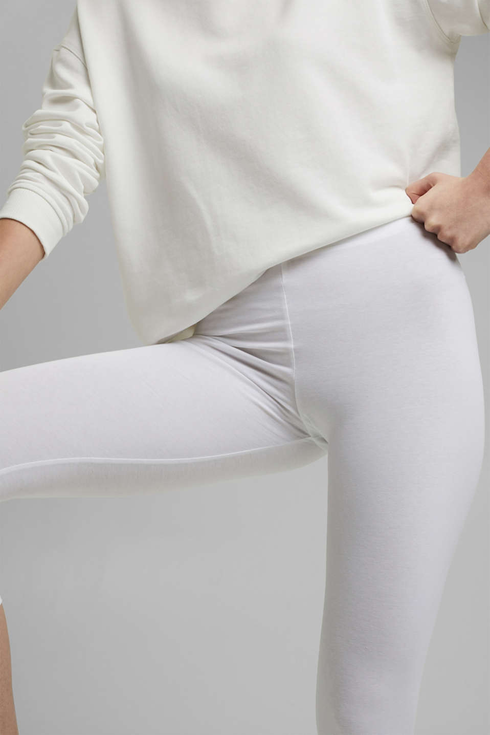 Stretch cotton Capri leggings, WHITE, detail image number 2