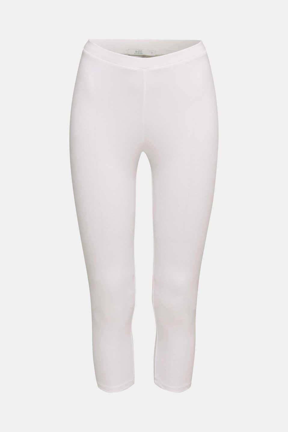 Stretch cotton Capri leggings, WHITE, detail image number 6