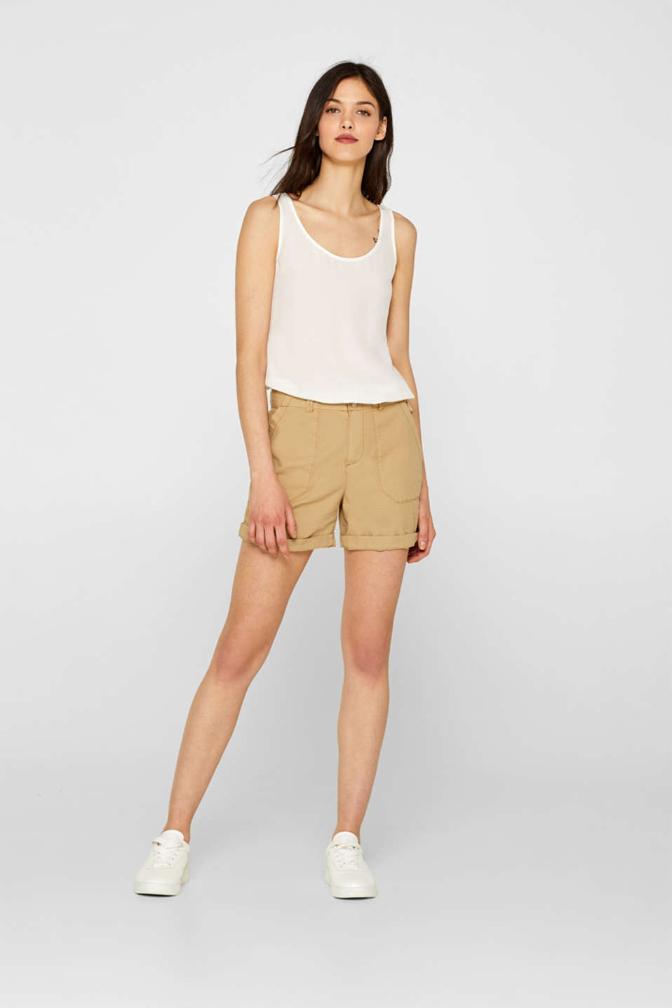 edc - Shorts with front pockets, 100% cotton
