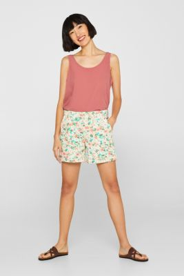 Printed stretch cotton shorts, OFF WHITE, detail