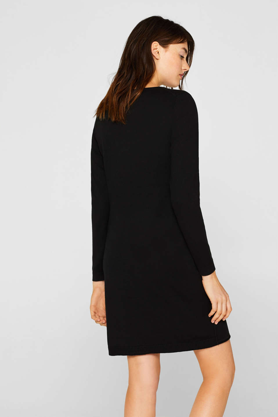Knitted dress in a basic look, BLACK, detail image number 2