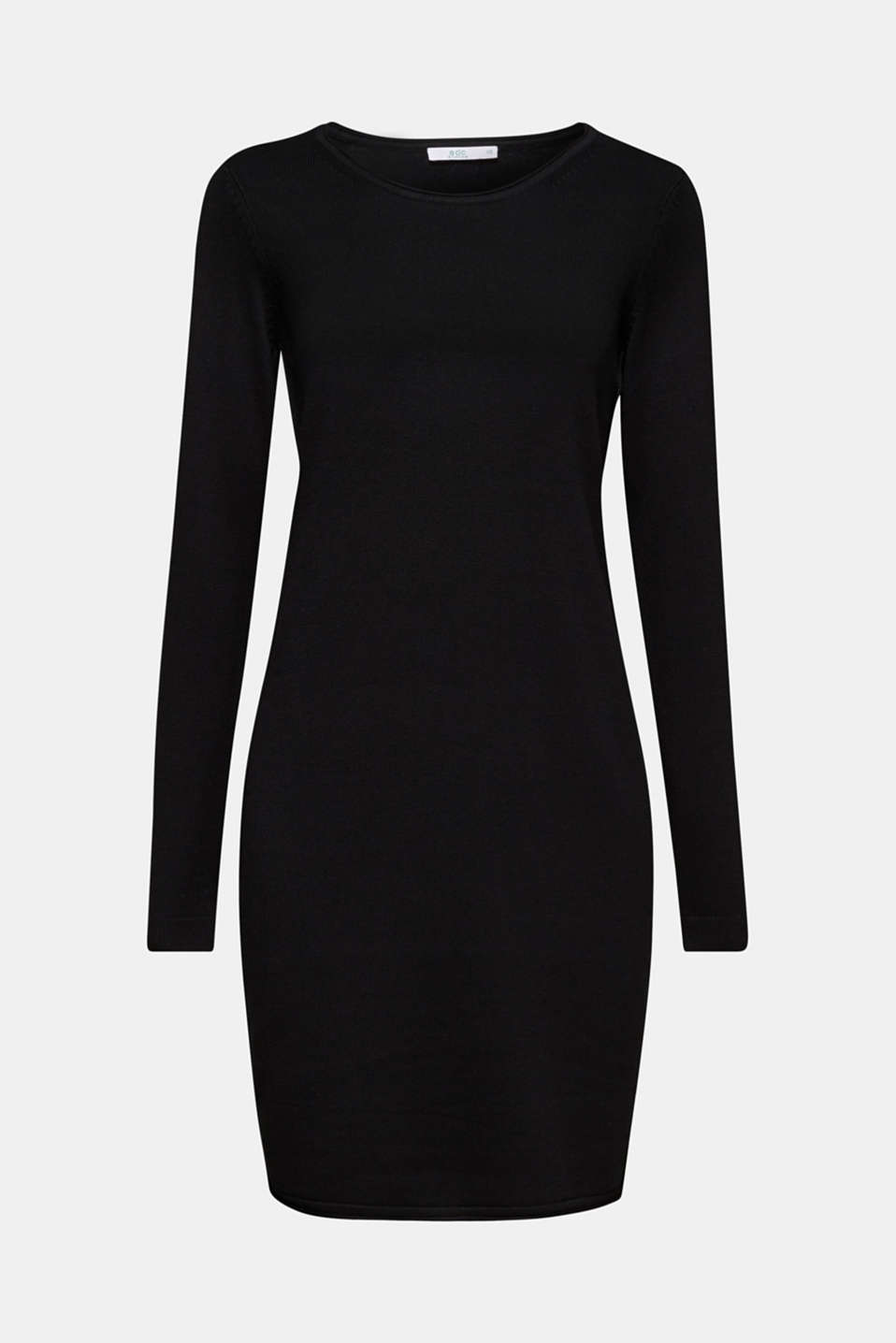 Knitted dress in a basic look, BLACK, detail image number 5