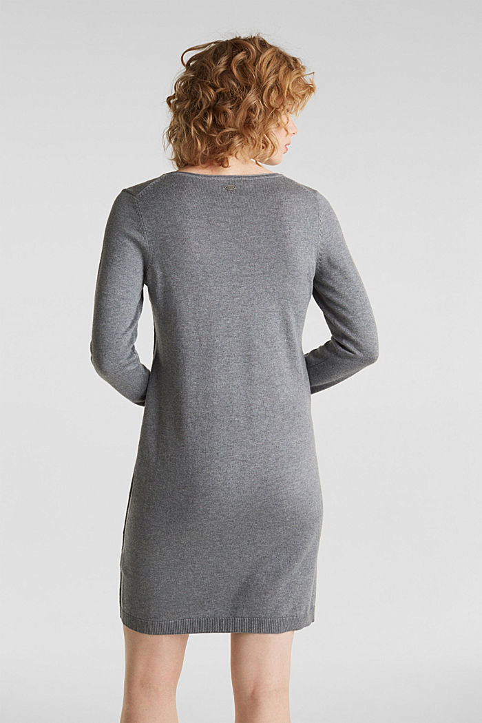 Knitted dress in a basic look, GUNMETAL, detail image number 1