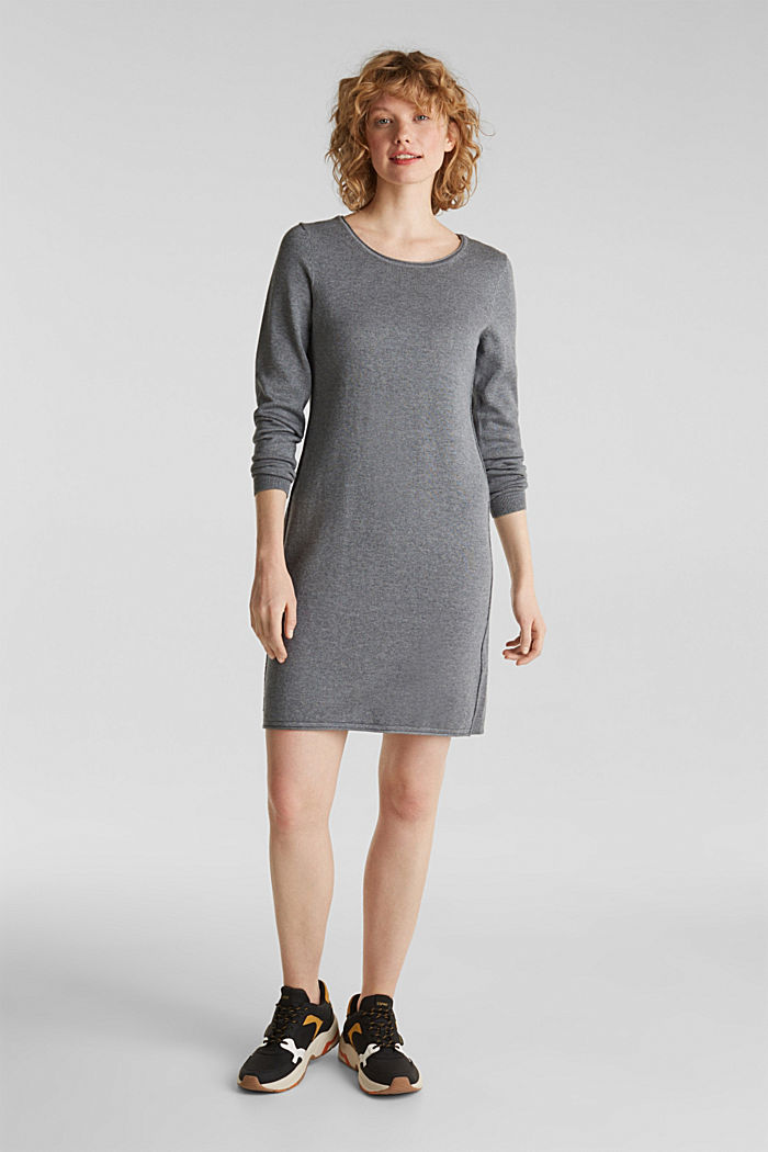 Knitted dress in a basic look, GUNMETAL, detail image number 0