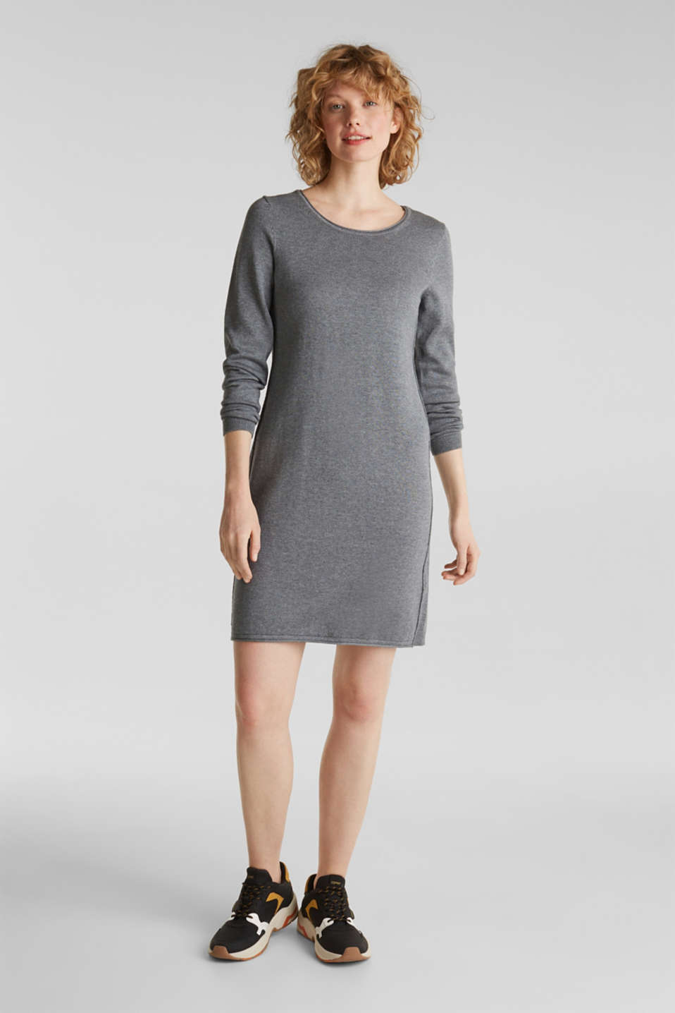 Knitted dress in a basic look, GUNMETAL 5, detail image number 0