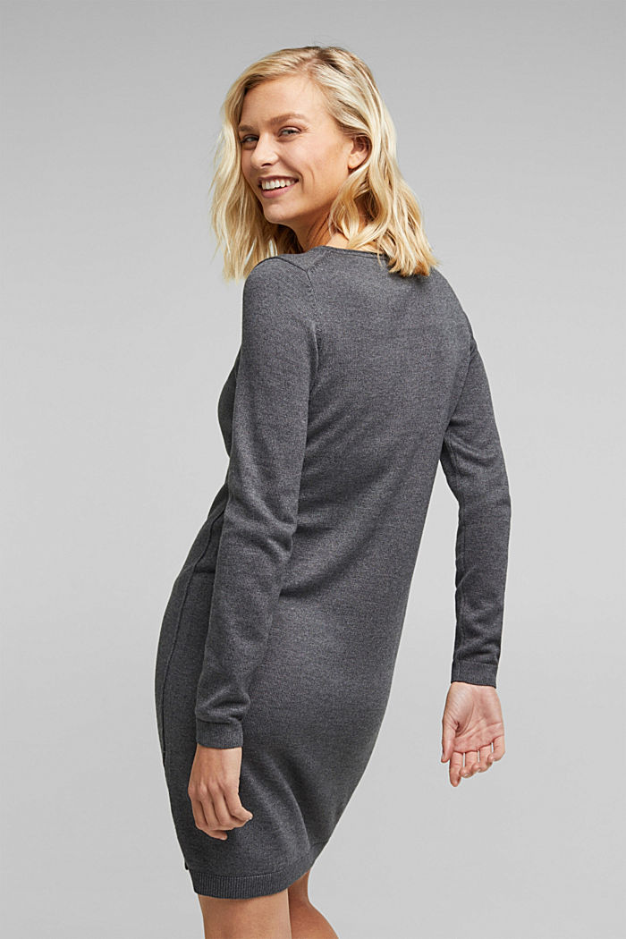 Knitted dress in a basic look, DARK GREY, detail image number 2