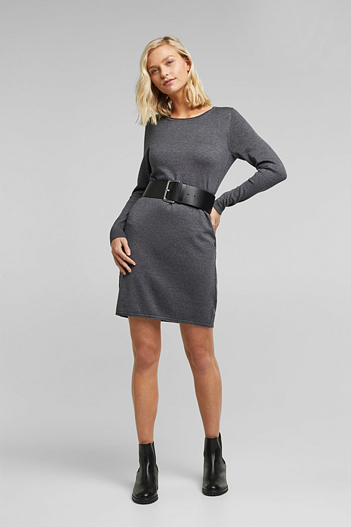 Knitted dress in a basic look, DARK GREY, detail image number 1
