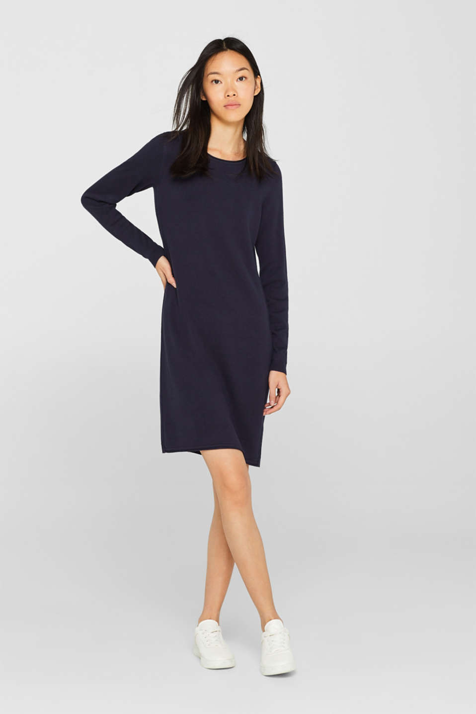 Knitted dress in a basic look, NAVY, detail image number 0