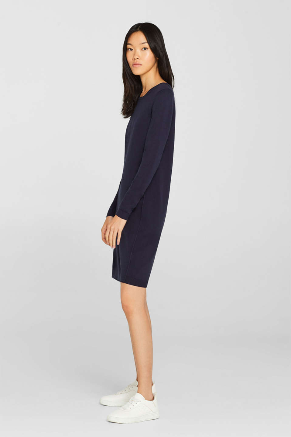 Knitted dress in a basic look, NAVY, detail image number 4