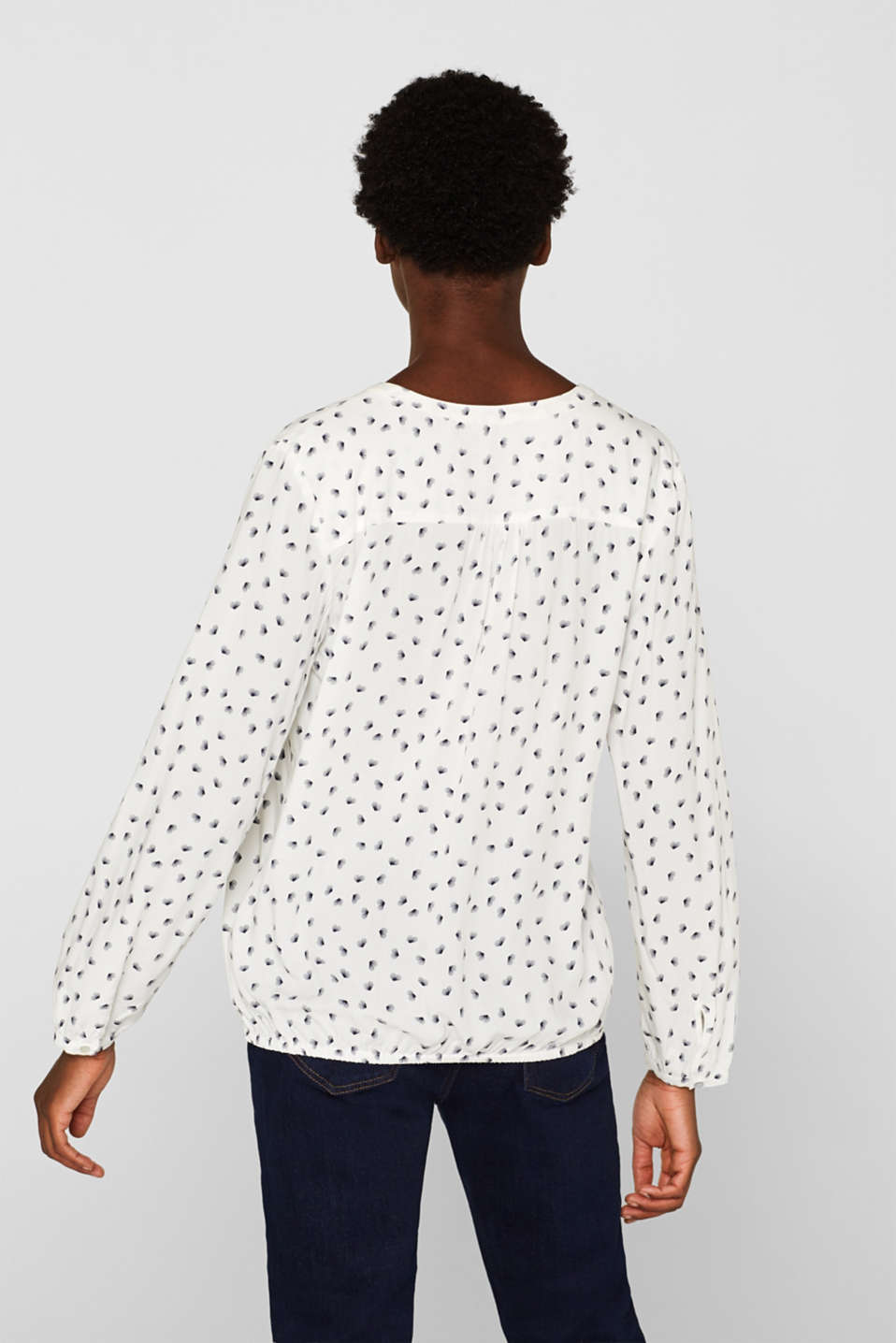 Print blouse with a Henley neckline, OFF WHITE, detail image number 3