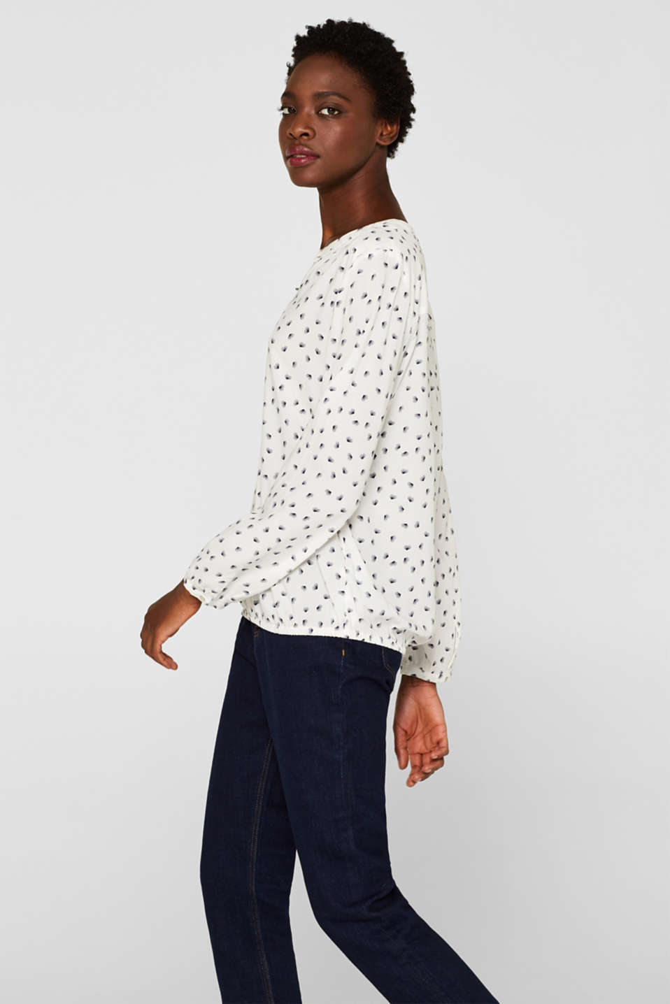 Print blouse with a Henley neckline, OFF WHITE, detail image number 5