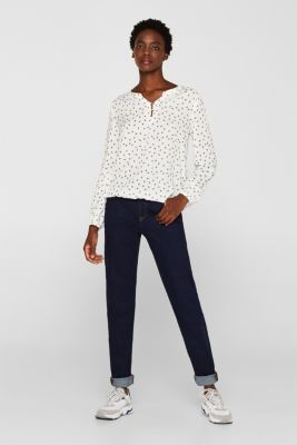 Print blouse with a Henley neckline, OFF WHITE, detail