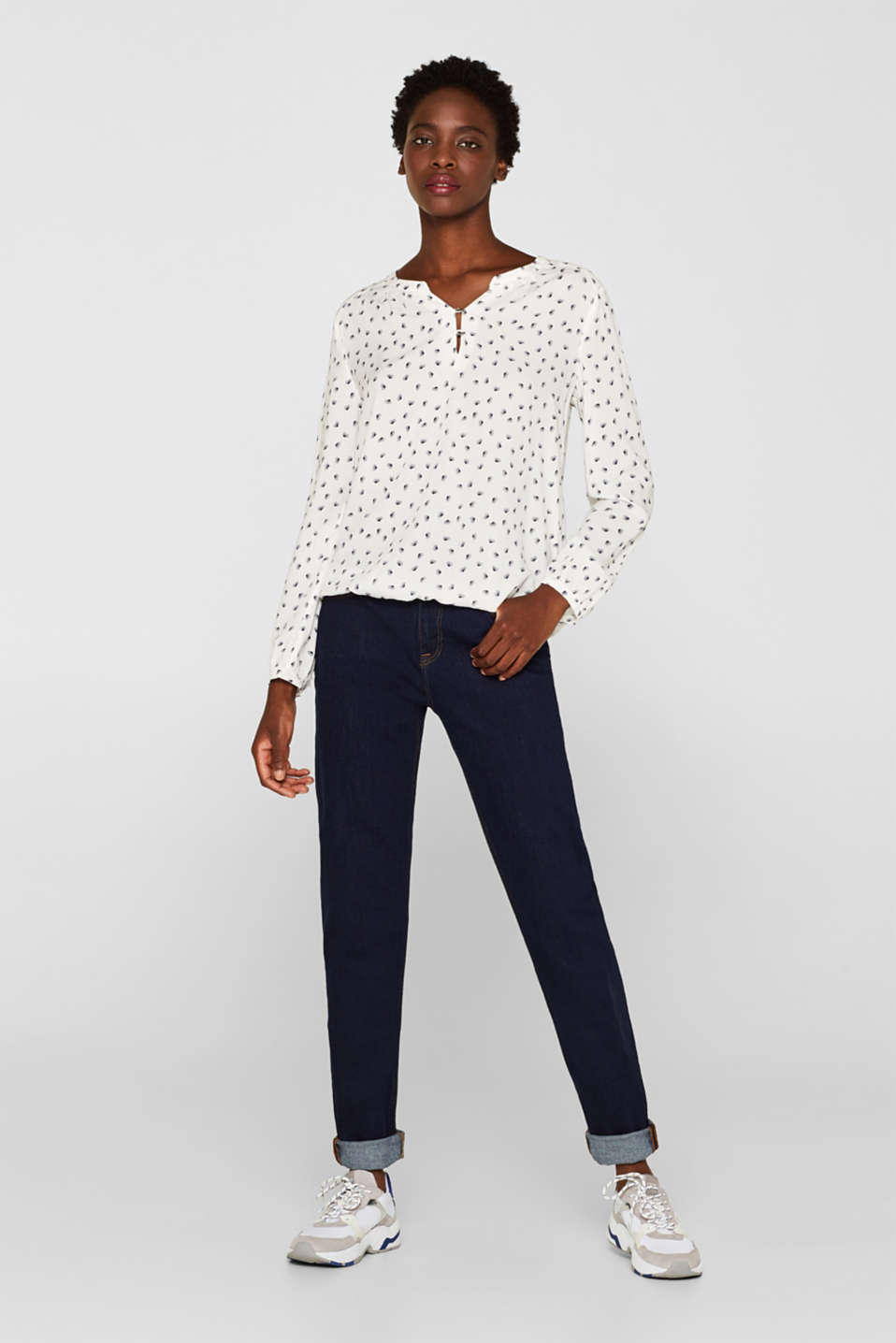Print blouse with a Henley neckline, OFF WHITE, detail image number 1