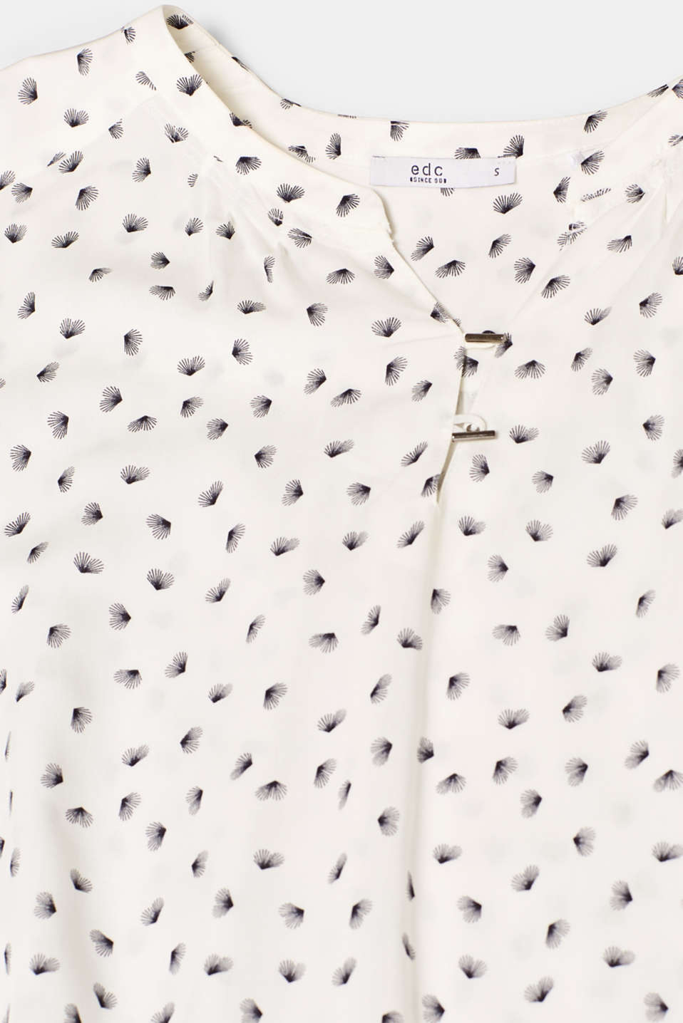 Print blouse with a Henley neckline, OFF WHITE, detail image number 4