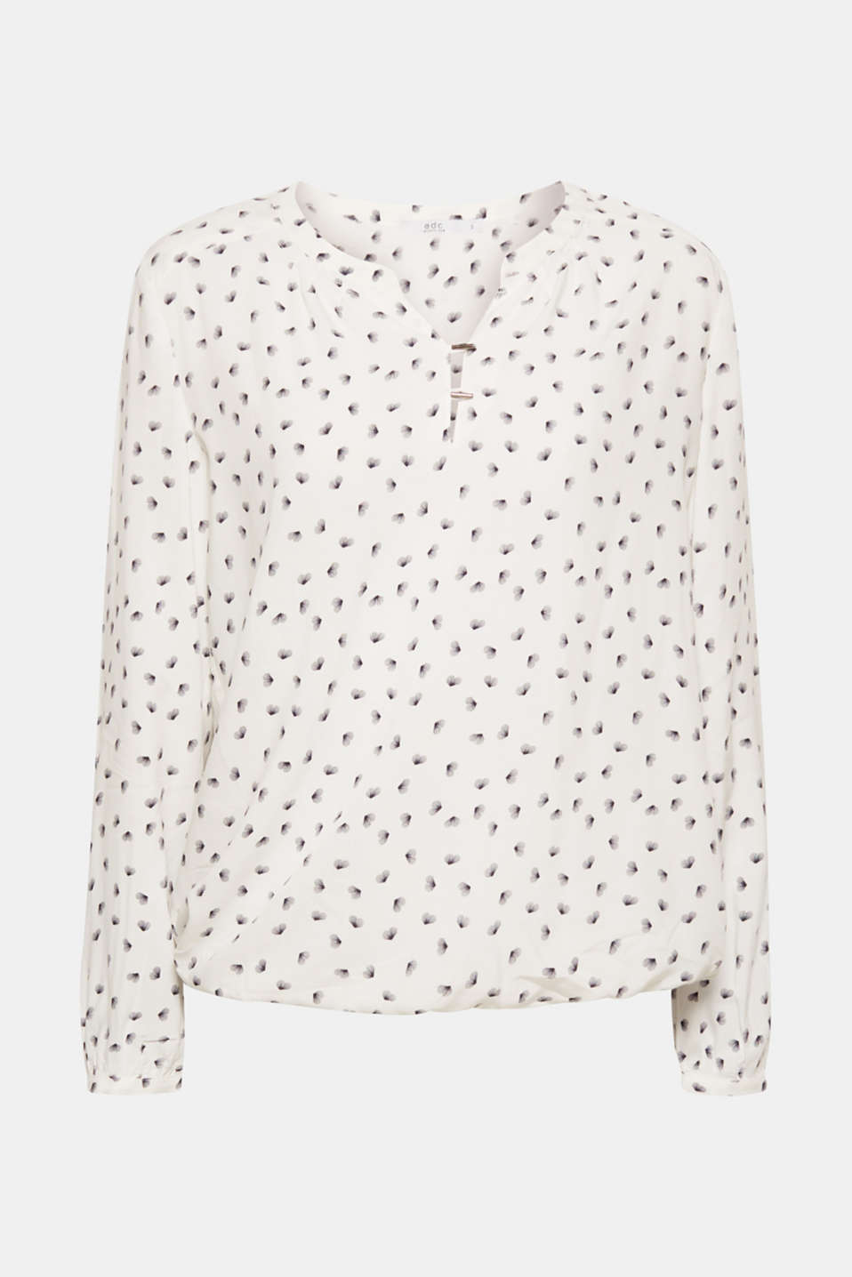 Print blouse with a Henley neckline, OFF WHITE, detail image number 7