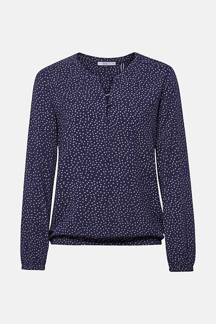 Print blouse with a Henley neckline, NAVY, detail image number 0