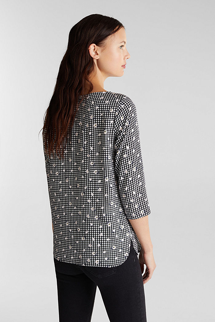 Blouse top with a print, BLACK, detail image number 3