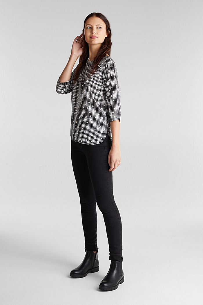 Blouse top with a print, BLACK, detail image number 1