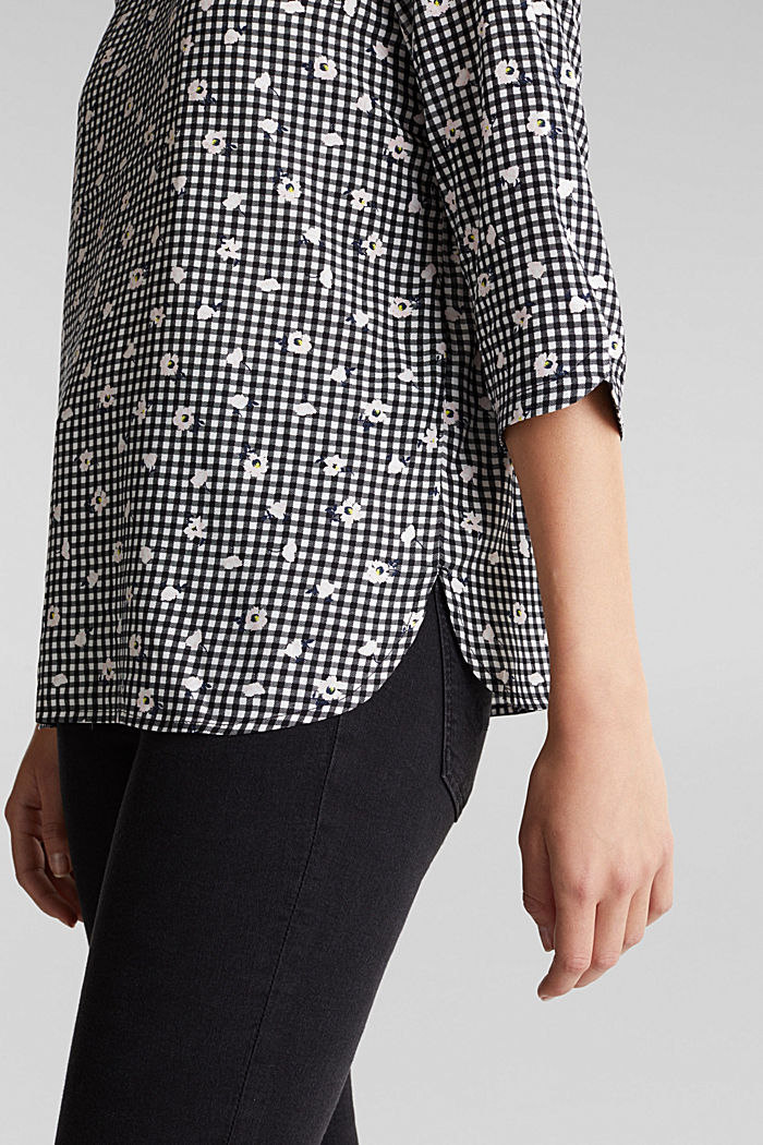 Blouse top with a print, BLACK, detail image number 5