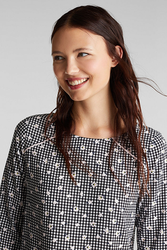 Blouse top with a print, BLACK, detail image number 6
