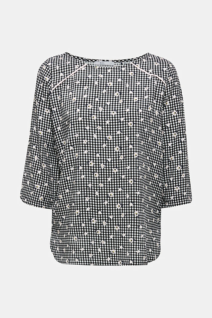 Blouse top with a print, BLACK, detail image number 7