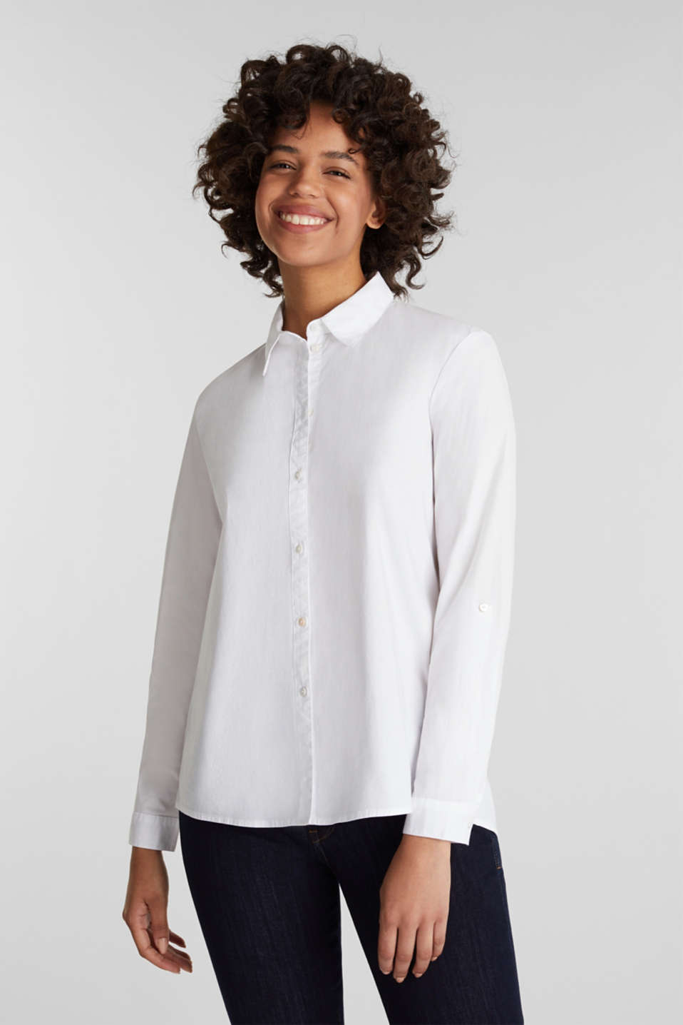 Shirt blouse with stretch, WHITE, detail image number 0