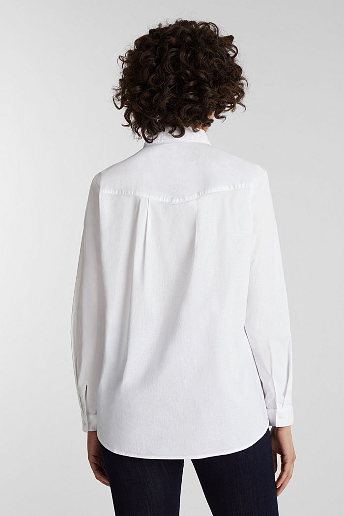 Overhemdblouse met stretch, WHITE, detail image number 3