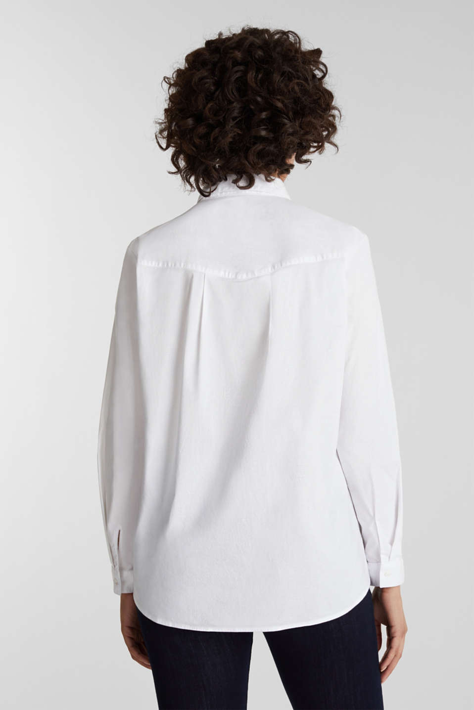 Shirt blouse with stretch, WHITE, detail image number 3