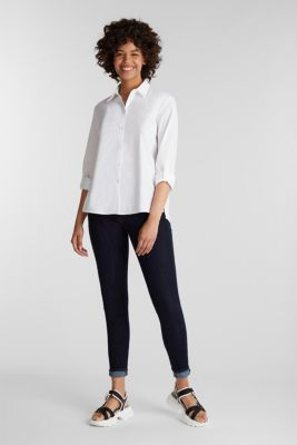 Shirt blouse with stretch, WHITE, detail