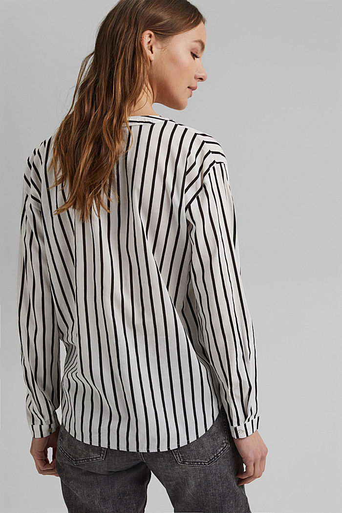 Striped Henley blouse, OFF WHITE, detail image number 3